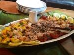A Hawaiian Classic: A squid, salmon, and shrimp salad with a sesame glaze.